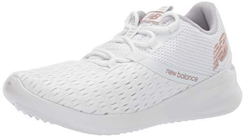 New Balance Women's District Run V1 CUSH + Sneaker, White, 8 M US