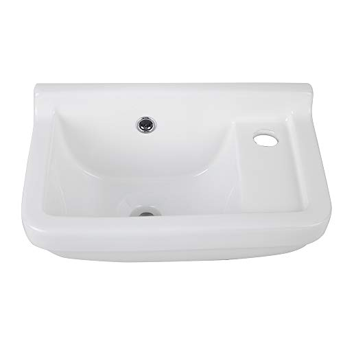 AWESON Ceramic Wall Mount Vessel Sink,White Vitreous China,Small Wall-hung Basin with One Faucet Hole and Overflow China Wall Mount Basin