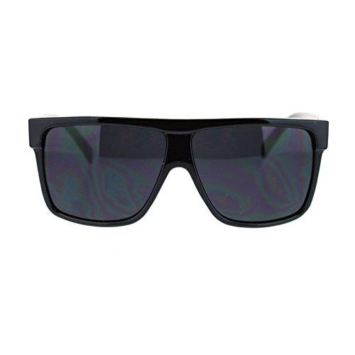 Kush Pot Logo Large Squared Flat Top Mobster All Black Gangster Sunglasses (Shiny Black, - Top Black Flat Men