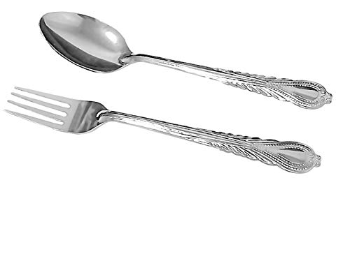 12 Pieces Forks and Spoons Stainless Steel Cutlery Dishwasher Safe Smooth Edge Rust and Heat Resistant