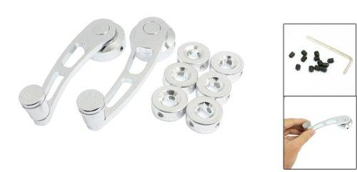 2Pcs Universal Fit Silver Tone Aluminum Winder Window Crank Handle Set