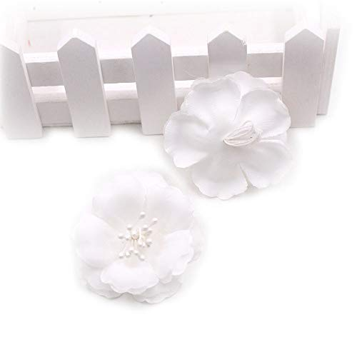 Artificial Flowers Fake Flower Heads in Bulk Wholesale for Crafts Silk Stamens Silk Plum Blossom Wedding Dress Flower Head DIY Home Shoes and Apparel Decoration Party Home Decor 30pcs 5.5 cm (White) from Artificial Flowers