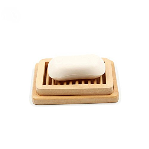 Double Layer Unpolished Natural Bamboo Wooden Soap Box Eco-Friendly Soap Holder Racks by UIYTR-2016