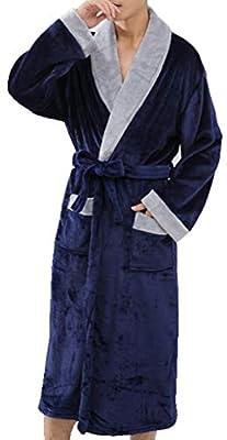 YVWTUC Man Soft Kimono Bathrobe Long-Sleeve Sleepwear Spa Robe