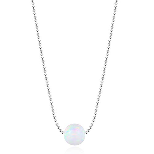Carleen 18K White Gold Plated 925 Sterling Silver Ball Shape Created Opal Dainty Pendant Necklace for Women Girls with 16+2