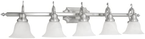 Livex Lighting 1285-91 Bath Vanity with White Alabaster Glass Shades, Brushed Nickel