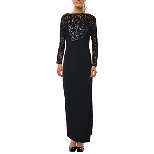 RALPH LAUREN 264 1251 1363 Black Boat Neck Sequined;Slitted Evening Dress 6 B+B