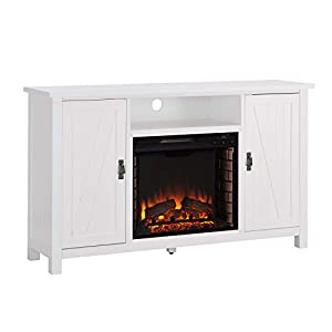 Southern Enterprises Adderly Farmhouse Style Electric TV Stand fireplace, White