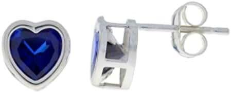 14Kt White Gold Created Blue Sapphire Heart Bezel Stud Earrings