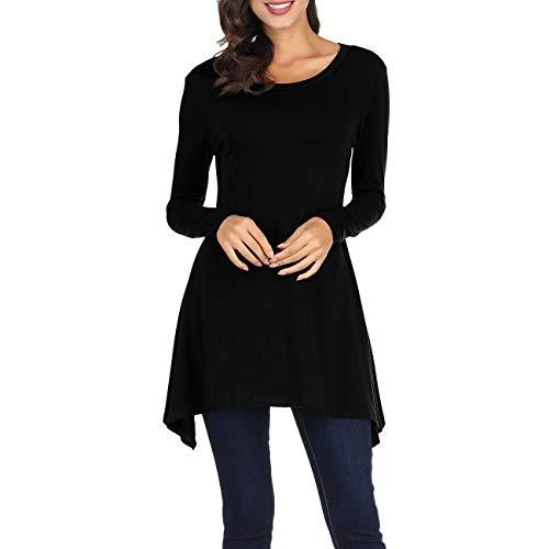 Cnokzol Women Long Sleeve Asymmetrical Tunic Shirt Casual Loose Trapeze Tunic Top Shirt(S,Black)