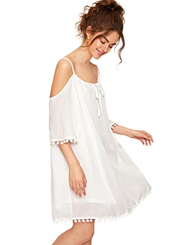 - Milumia Women's Summer Cold Shoulder Crochet Lace Sleeve Loose Swing Beach Dress a-White-1 S