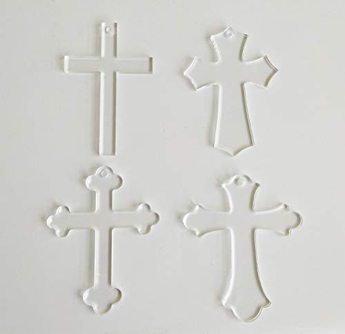20PCS Blank Clear Acrylic Cross Keychains,Clear Plexiglass Laser Cut Gifts, Cross Halloween Tags Save Date (Mix Shape, 3