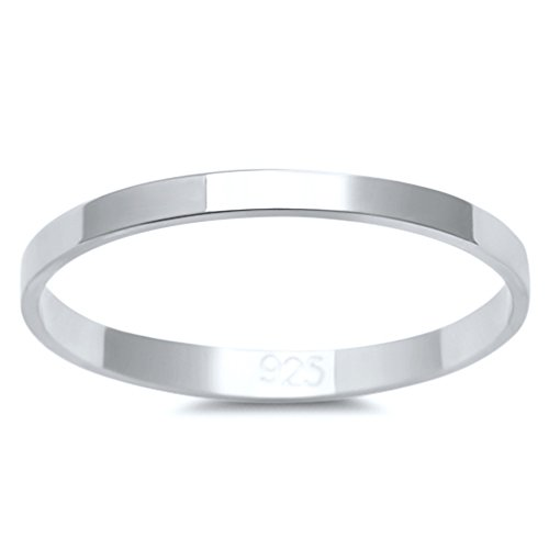 Comfort Wedding Fit Flat Band - Solid Flat Sterling Silver Women's Mens Unisex Wedding Band Ring Comfort 2mm Size 7