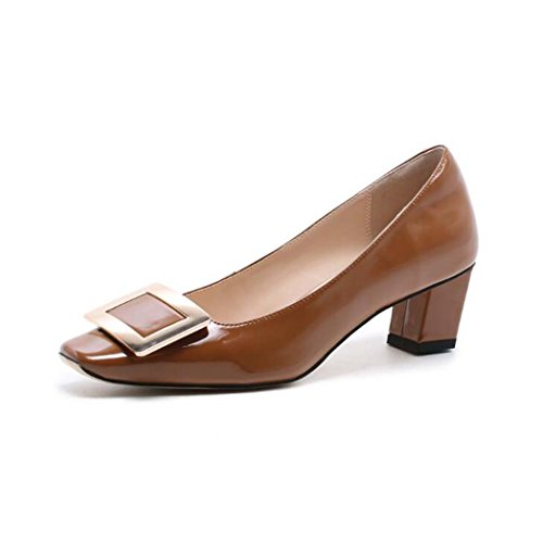 39 34 Alto Color Tallas Marrón Rosa Tamaño de de Negro Sandalias Zapatos Marrón 37 Tacón Cuadrado Blanco Tacón 7FHqxUO