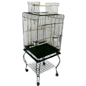 "Brand New Parrot Bird Cage Cages Play w/Stand 20x20x58 ""Blac"