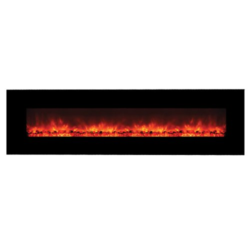 Y Decor FP1313 Contemporary Wide Glass Electric Fireplace Nearly 8' Long, Black