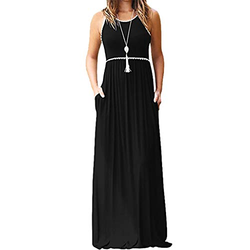 Women Round Neck Dresse WEUSUN Lace Sleeveless Maxi Dresses Summer Casual Long Dresse with Pocket Black