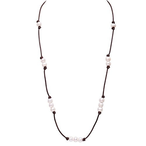 Brown Single Leather Strand Beaded cultured Pearl Necklace Long,31.5 Inch with different Wear Style by PEARLADA