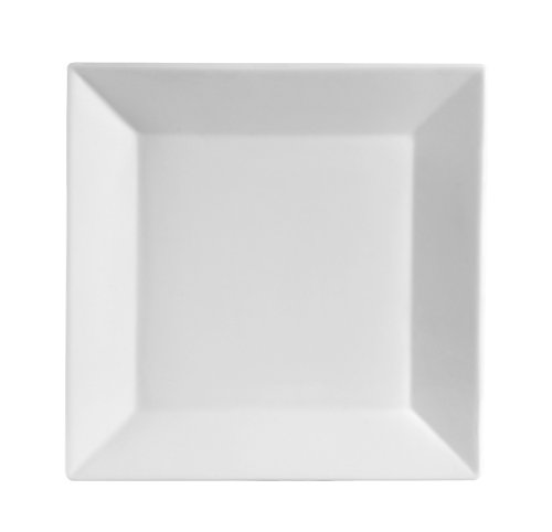 CAC China KSE-8 Kingsquare 8-Inch Super White Porcelain Square Plate, Box of 24 by CAC China