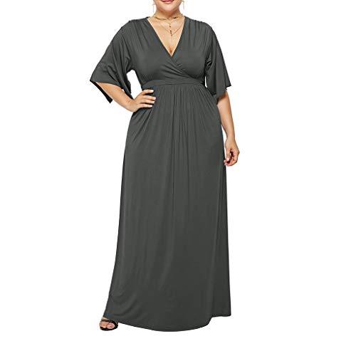 (Zlolia Plus Size Solid Color Plain Dresses for Women Deep V High Waist Half Sleeve Maxi Dress Summer Casual Skirt)