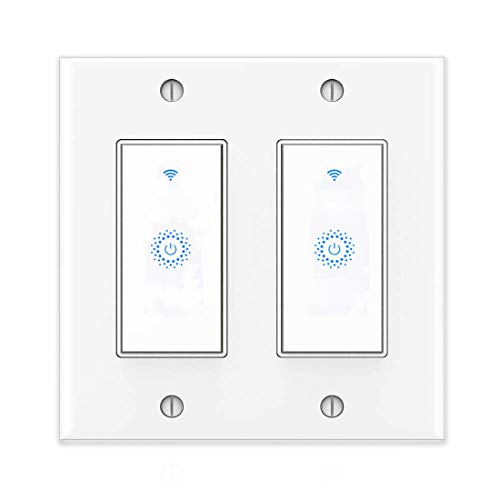 Smart Light Switch&Alexa Smart Double Switch&WIFI Light Switch With Timer and Remote Control,Compatible with Alexa, Google home and IFTTT, No Hub required, ETL and FCC listed. (2gang)