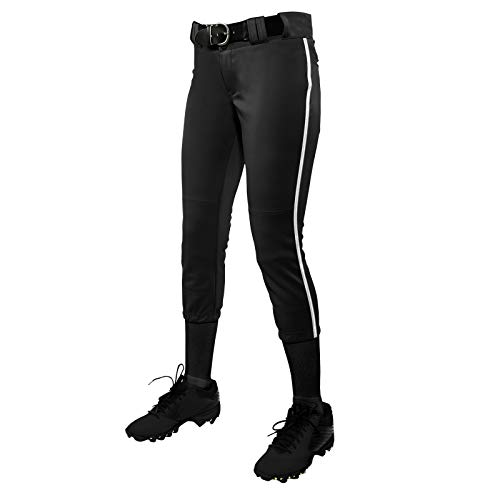 CHAMPRO Women's Tournament Fastpitch Pant with Piping Black/White Small