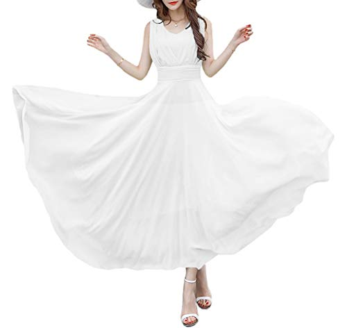 (Afibi Women Double Sleeveless Ruched Waist Ladies Long Evening Dress (Large, White))