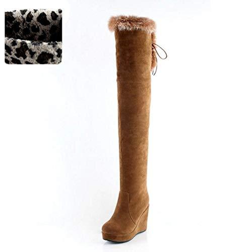 BE-MY-GUEST Over Knee Women High Heels Wedges Real Fur Platform Zipper Winter Long Boots,Yellow Velvet,9.5 ()