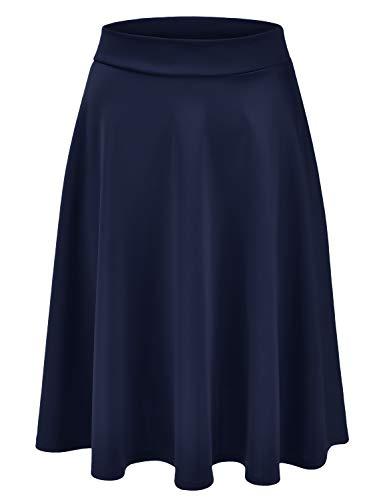 (EIMIN Women's Basic Versatile Stretchy Flared Casual Midi Skater Skirt Navy 3XL)