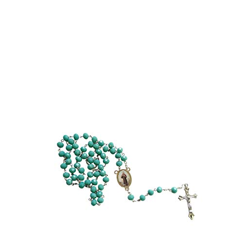 - Saint Francis of Assisi Patron Saint of Animals Merchants and Ecology Teal Amazonite Faceted Opaque Round Beads Rosary with Silver Plated Medal Centerpiece and Crucifix Includes a Prayer Card