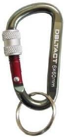 DBLTACT アルミカラビナ ロック式 6mm ガンメタシルバー×レッド DBLTACT-AKL-165