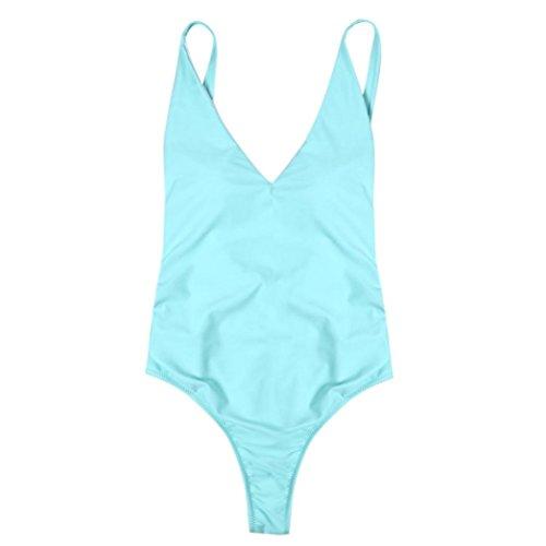 Goodtrade8 Womens Swimsuit One Piece Solid Backless Thong Bikini Push Up Padded Beach Monokini Swimwear Bathing Suit Sexy (S, Sky Blue) by Goodtrade8