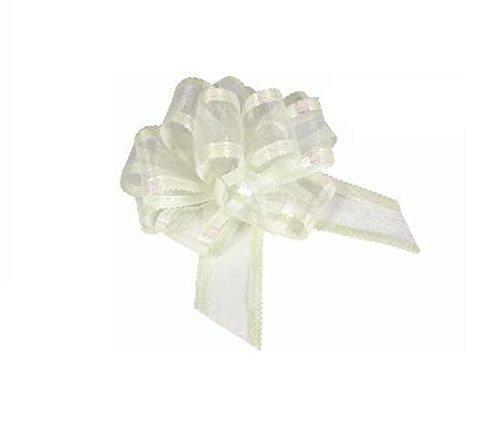10 Ivory Eleganza Organza Fabric Pull Bows