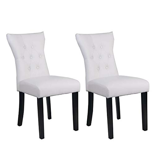 Dining Chairs Set upholstered Designed Home Kitchen Restaurant Chair 2 PCS - Mahogany Chippendale Style Side Chair