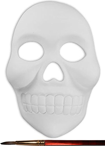 Day of the Dead Skull Mask and Paintbrush Set - Paint Your Own Ceramic - Masks Bisque