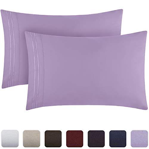 Mellanni Luxury Pillowcase Set - Brushed Microfiber 1800 Bedding - Wrinkle, Fade, Stain Resistant - Hypoallergenic (Set of 2 Standard Size, Violet)