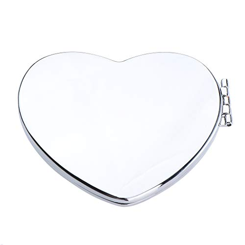 Flameer Lady Makeup Mirror Portable Compact Pocket Beauty Cosmetic Mirrors Silver - Heart ()