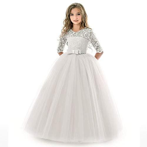 - White Dresses for Girls 11-12 Lace Flower Summer Holiday Party Wedding Dress 11T Girls Princess Long Sleeve Elegant Pageant Dresses for Girls Tutu Tulle Dress Size 11-12 Floor Length (White 160)
