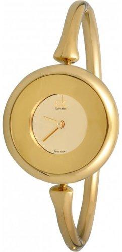 Calvin Klein Quartz Sing Collection Gold Dial Women's Watch K1C23909