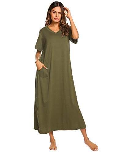 Ekouaer Long Nightgown Caftan Petite Loungewear with Pockets Housecoats Sleepwear (Army Green, XX-Large)