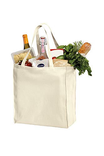 3 Pack Reusable Grocery Tote Bags, Heavy Natural Canvas Twill, 15.5