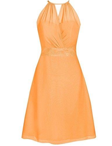 Robes Courtes De Demoiselle D'honneur Licol Femmes Cdress Dentelle Robes De Soirée Bal De Mariage En Mousseline De Soie Orange,