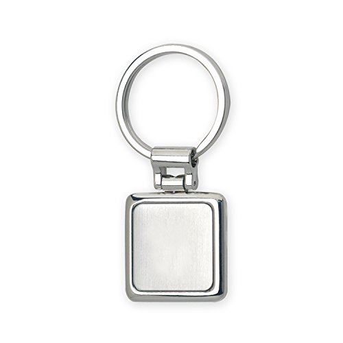 Basix Personalized Split-ring Square Keychain with Stainless Steel Insert and Hand Polished Nickel Finish -