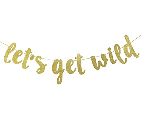 Let's Get Wild Banner, Jungle Theme Birthday Garland Wild One Party Welcome Sign Forest 1st Birthday Party Decorations Photo Booth Props Gold ()