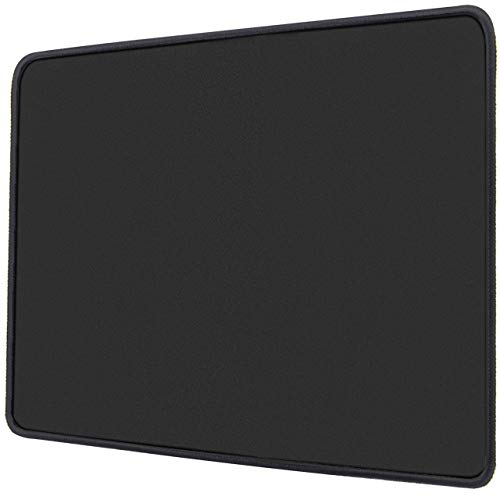 Ktrio Gaming Mouse Pad with Stitched Edges Mousepad with Lycra Cloth, Non-Slip Rubber Base, Waterproof Coating Mouse Pad for Computer, Laptop, PC, Office & Home, 11x8.5 inches, 3mm, Black