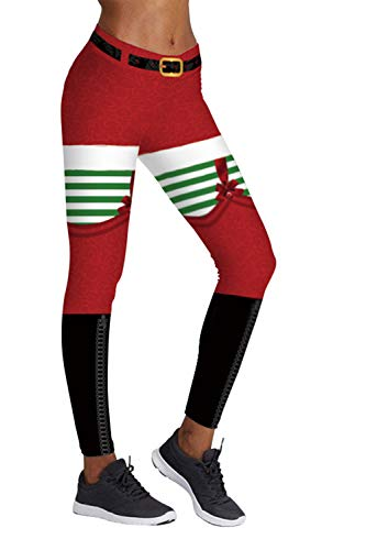 COCOLEGGINGS Ladies Ugly Santa Claus Print Ankle Length Xmas Leggings S/M -