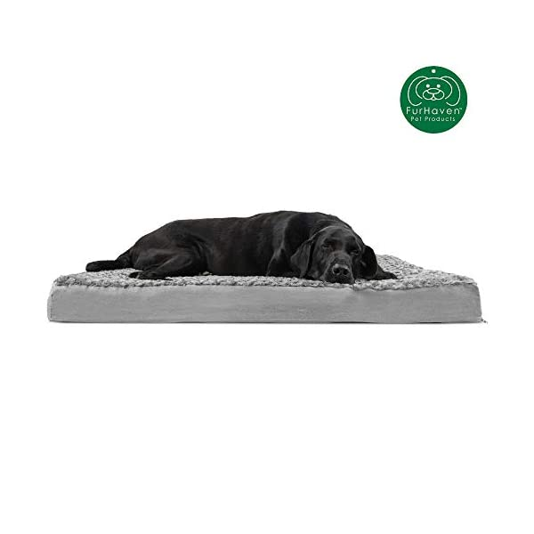 Furhaven Pet Dog Bed | Deluxe Orthopedic Mat Ultra Plush Faux Fur Traditional Foam Mattress Pet Bed for Dogs & Cats, Gray, Jumbo