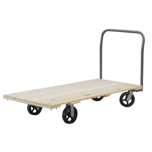 Wood Akro Deck Mils - Akro-Mils RPT24485J5M8GY 24-Inch  by 48-Inch  Industrial Grade Hard Wood Platform Truck with Open Handle and 8-Inch  Mold-On Rubber Casters with  1500-Pound capacity
