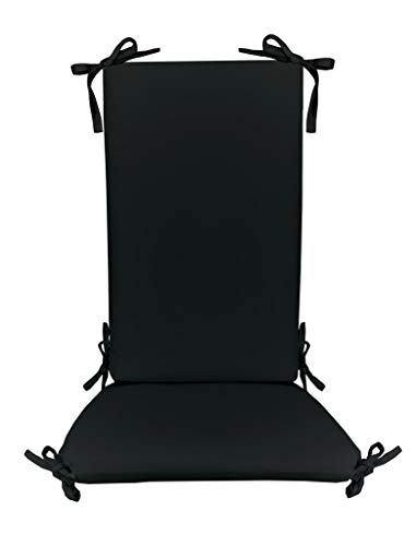 Resort Spa Home Decor Indoor/Outdoor Solid Color Rocking Chair 2 Pc Foam Cushion Set ~ Fits Cracker Barrel Rocker - Choose Color (Black)