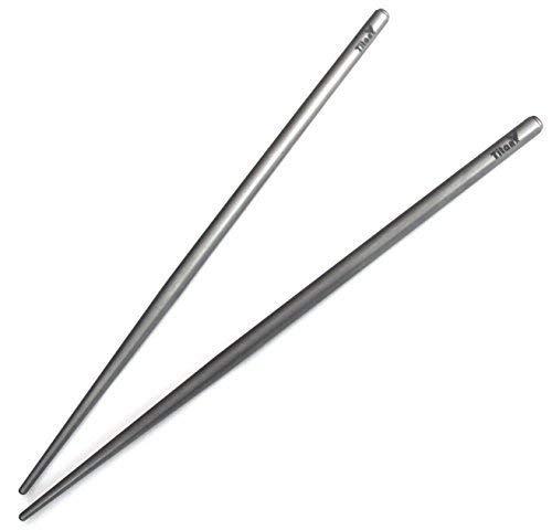 By TitanOwl Super Strong Lightweight Professional Chopsticks with Grey Aluminum Case TI AlumCase Titanium